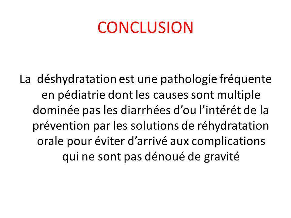 CONCLUSION La déshydratation est une pathologie fréquente en pédiatrie dont les causes sont multiple dominée pas les diarrhées d'ou l'intérét de la pr