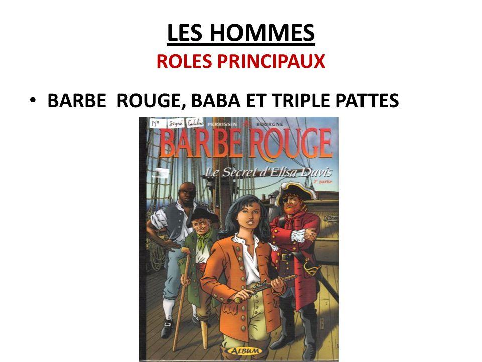 LES HOMMES ROLES PRINCIPAUX BARBE ROUGE, BABA ET TRIPLE PATTES