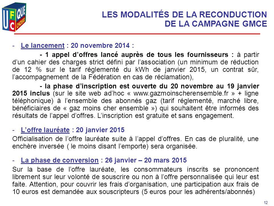 12 LES MODALITÉS DE LA RECONDUCTION DE LA CAMPAGNE GMCE -Le lancement : 20 novembre 2014 : - 1 appel d'offres lancé auprès de tous les fournisseurs : à partir d'un cahier des charges strict défini par l'association (un minimum de réduction de 12 % sur le tarif réglementé du kWh de janvier 2015, un contrat sûr, l'accompagnement de la Fédération en cas de réclamation), - la phase d'inscription est ouverte du 20 novembre au 19 janvier 2015 inclus (sur le site web ad'hoc « www.gazmoinscherensemble.fr » + ligne téléphonique) à l'ensemble des abonnés gaz (tarif réglementé, marché libre, bénéficiaires de « gaz moins cher ensemble ») qui souhaitent être informés des résultats de l'appel d'offres.