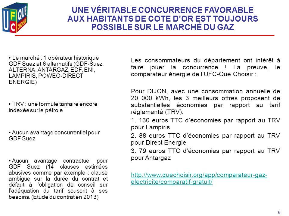 7 OBJECTIF: LA MEILLEURE OFFRE SUR LE MARCHE DU GAZ -Une économie substantielle : 12% minimum de réduction sur le tarif réglementé du kWh de janvier 2015 Pour information, une réduction de 12 % sur le TRV de novembre représente une économie annuelle de 138 € TTC en zone 1 (Lille, Lyon, Marseille, Montpellier, Toulouse Nantes, Voiron…), soit 128 € TTC après déduction de la participation aux frais d'organisation.