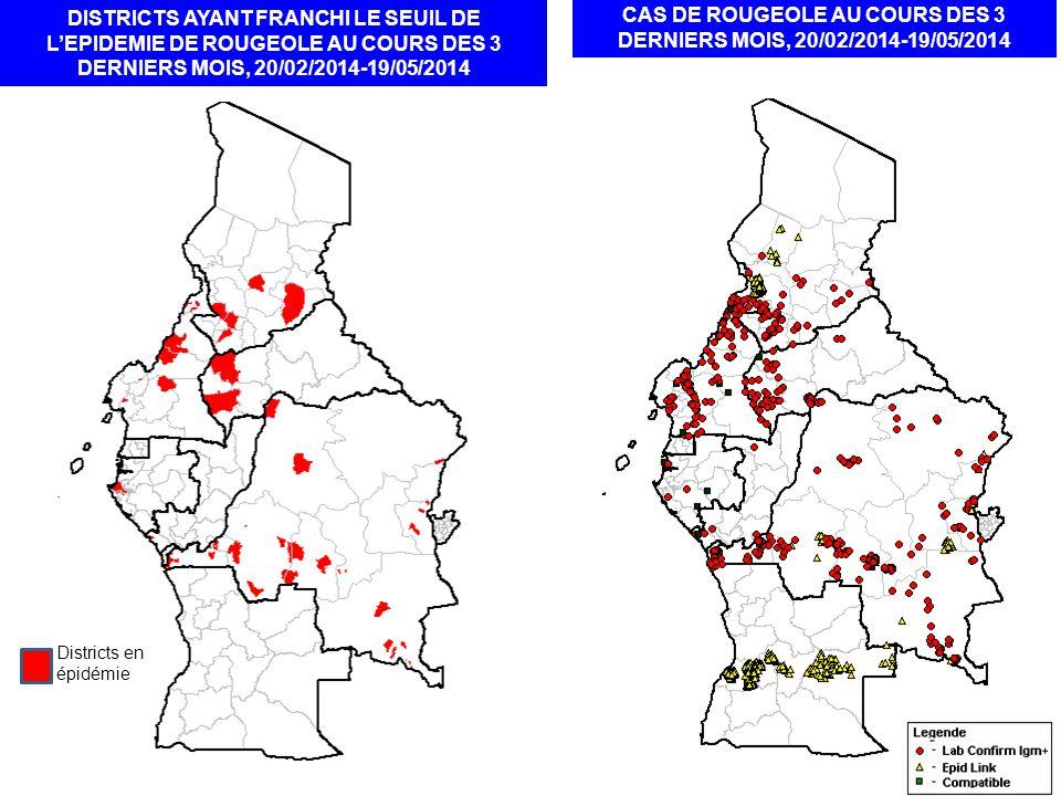 DISTRICTS AYANT FRANCHI LE SEUIL DE L'EPIDEMIE DE ROUGEOLE AU COURS DES 3 DERNIERS MOIS, 20/02/2014-19/05/2014 CAS DE ROUGEOLE AU COURS DES 3 DERNIERS MOIS, 20/02/2014-19/05/2014 Districts en épidémie