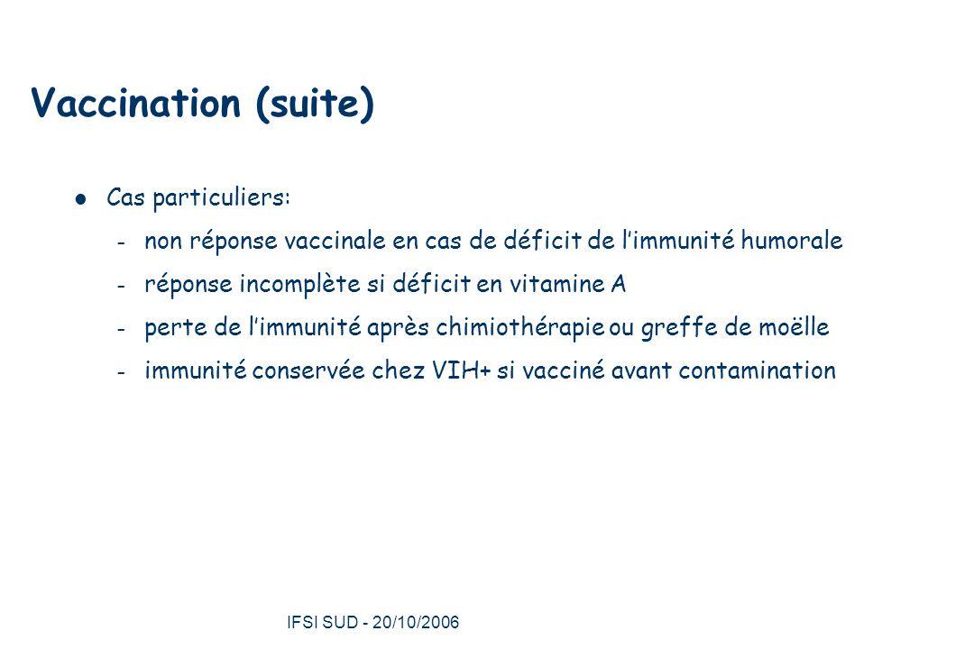 IFSI SUD - 20/10/2006 26 Vaccination (suite) Cas particuliers: – non réponse vaccinale en cas de déficit de l'immunité humorale – réponse incomplète si déficit en vitamine A – perte de l'immunité après chimiothérapie ou greffe de moëlle – immunité conservée chez VIH+ si vacciné avant contamination