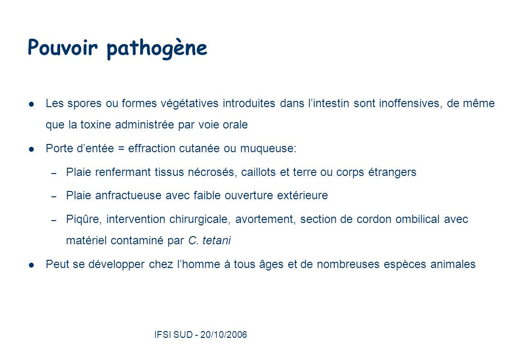IFSI SUD - 20/10/2006 20 Diagnostic La recherche de C.