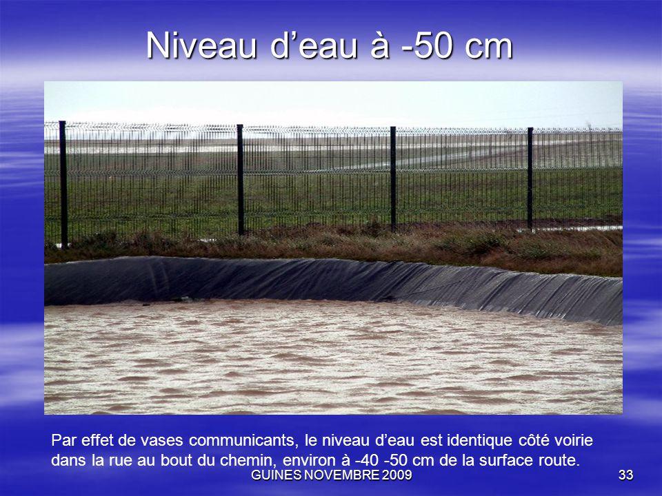 GUINES NOVEMBRE 200933 Niveau d'eau à -50 cm Par effet de vases communicants, le niveau d'eau est identique côté voirie dans la rue au bout du chemin,