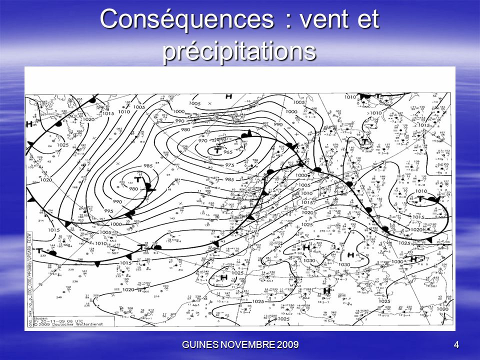GUINES NOVEMBRE 20095 Sur la carte isobare du 20 novembre, on distingue la dépression au Nord centrée sur l'Islande à 965 mbars et qui tourne en sens inverse des aiguilles de la montre.