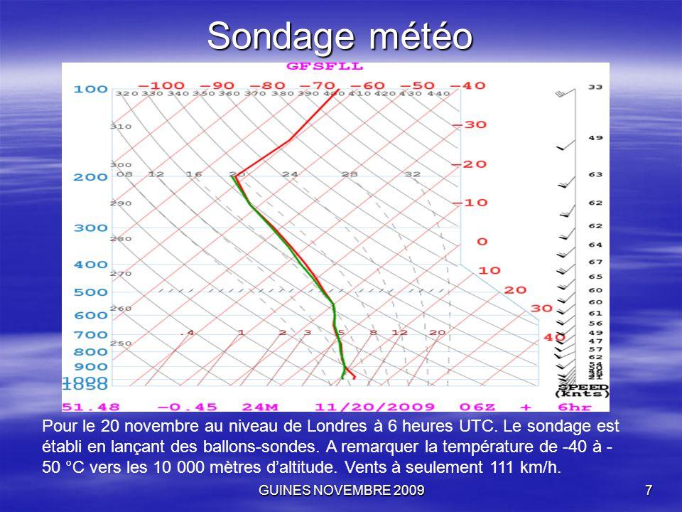 GUINES NOVEMBRE 20097 Sondage météo Pour le 20 novembre au niveau de Londres à 6 heures UTC. Le sondage est établi en lançant des ballons-sondes. A re