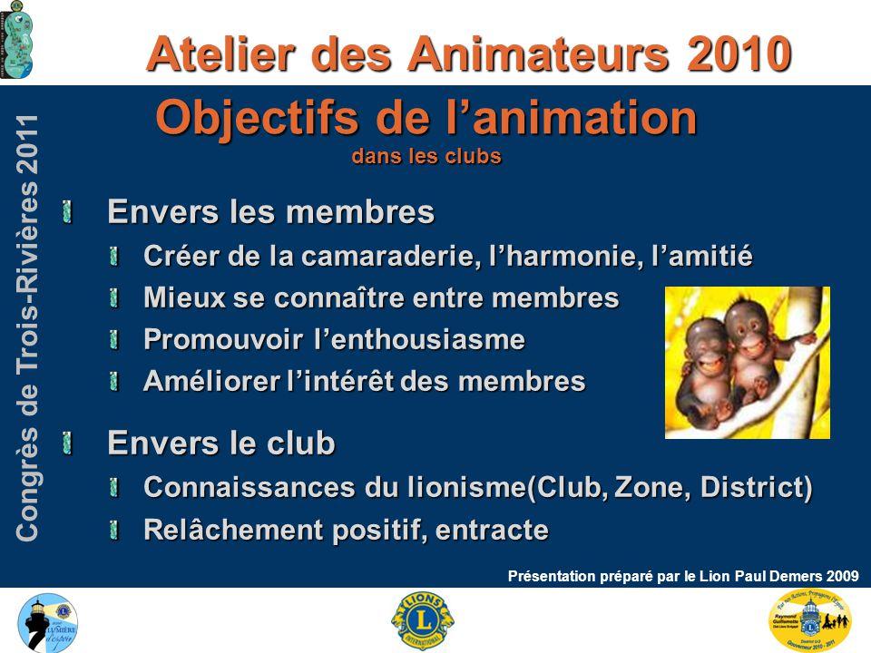Congrès de Trois-Rivières 2011 Atelier des Animateurs 2010 Présentation préparé par le Lion Paul Demers 2009 Argent recueilli Versés dans le compte administration.