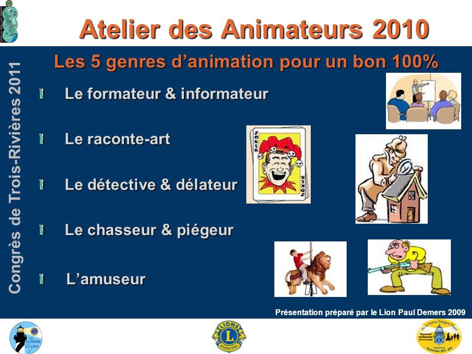 Congrès de Trois-Rivières 2011 Atelier des Animateurs 2010 Présentation préparé par le Lion Paul Demers 2009 Les 5 genres d'animation pour un bon 100% Le formateur & informateur Le raconte-art Le détective & délateur Le chasseur & piégeur L'amuseur