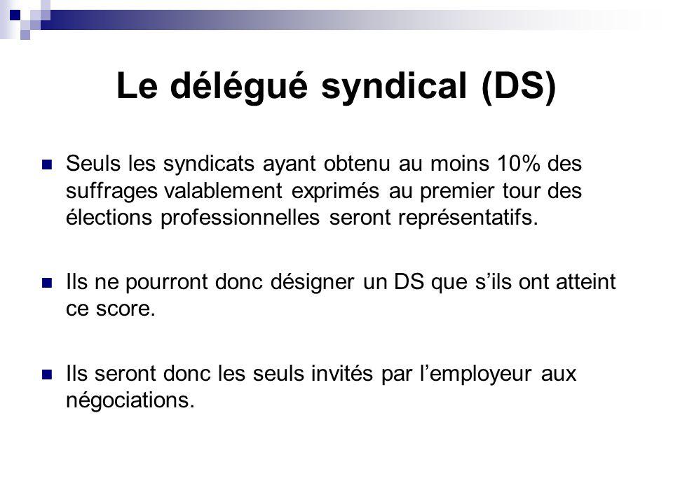 Le délégué syndical (DS) Seuls les syndicats ayant obtenu au moins 10% des suffrages valablement exprimés au premier tour des élections professionnell