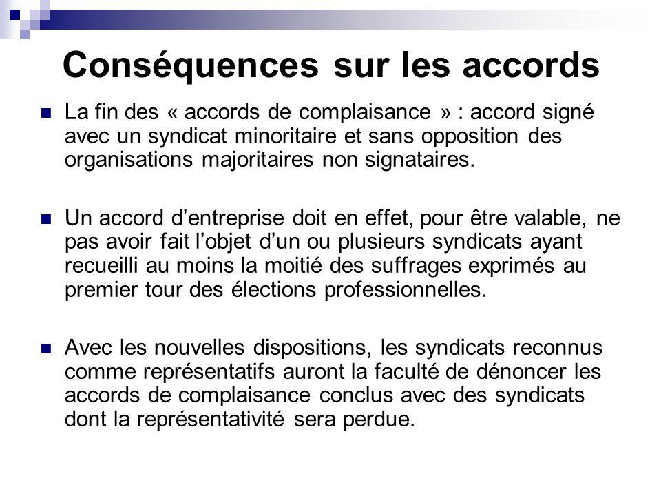 Conséquences sur les accords La fin des « accords de complaisance » : accord signé avec un syndicat minoritaire et sans opposition des organisations majoritaires non signataires.