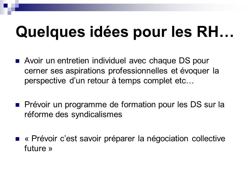 Quelques idées pour les RH… Avoir un entretien individuel avec chaque DS pour cerner ses aspirations professionnelles et évoquer la perspective d'un r