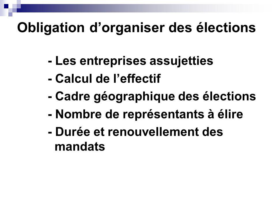 Obligation d'organiser des élections - Les entreprises assujetties - Calcul de l'effectif - Cadre géographique des élections - Nombre de représentants