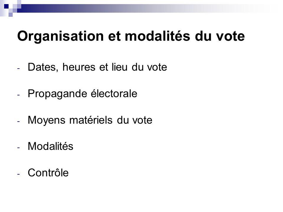 Organisation et modalités du vote - Dates, heures et lieu du vote - Propagande électorale - Moyens matériels du vote - Modalités - Contrôle