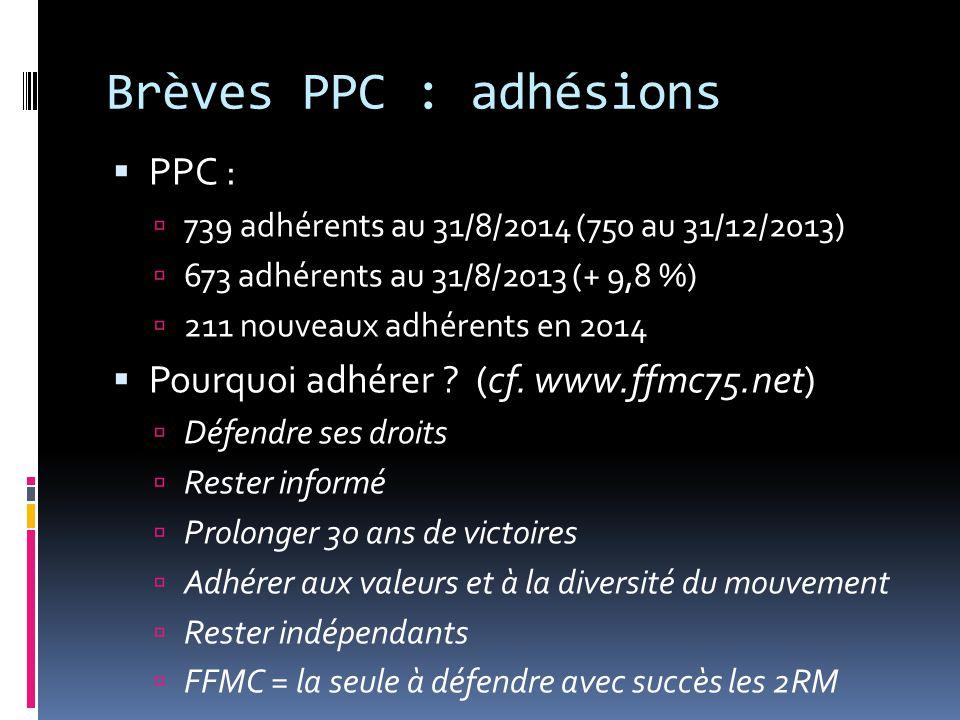 Brèves PPC : adhésions  PPC :  739 adhérents au 31/8/2014 (750 au 31/12/2013)  673 adhérents au 31/8/2013 (+ 9,8 %)  211 nouveaux adhérents en 2014  Pourquoi adhérer .