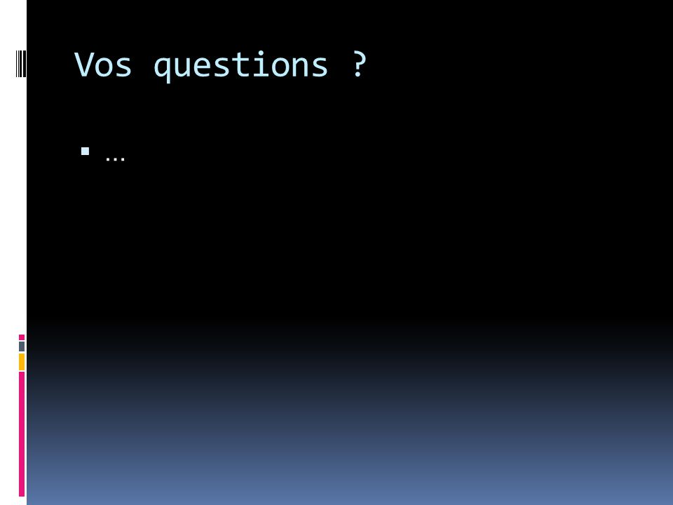 Vos questions ……