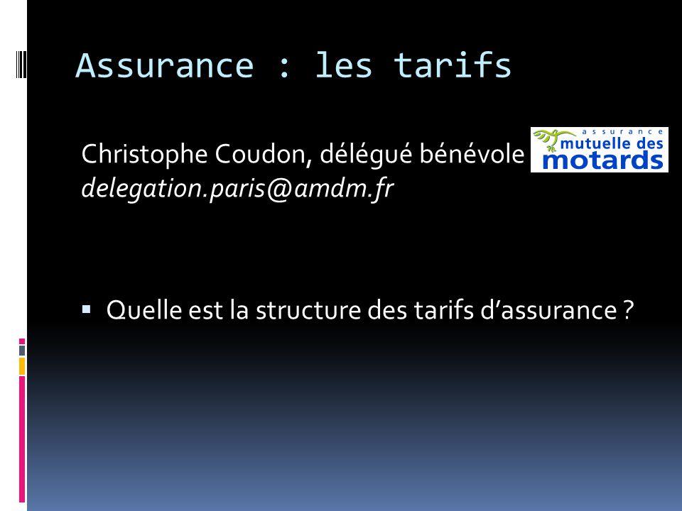 Assurance : les tarifs Christophe Coudon, délégué bénévole delegation.paris@amdm.fr  Quelle est la structure des tarifs d'assurance