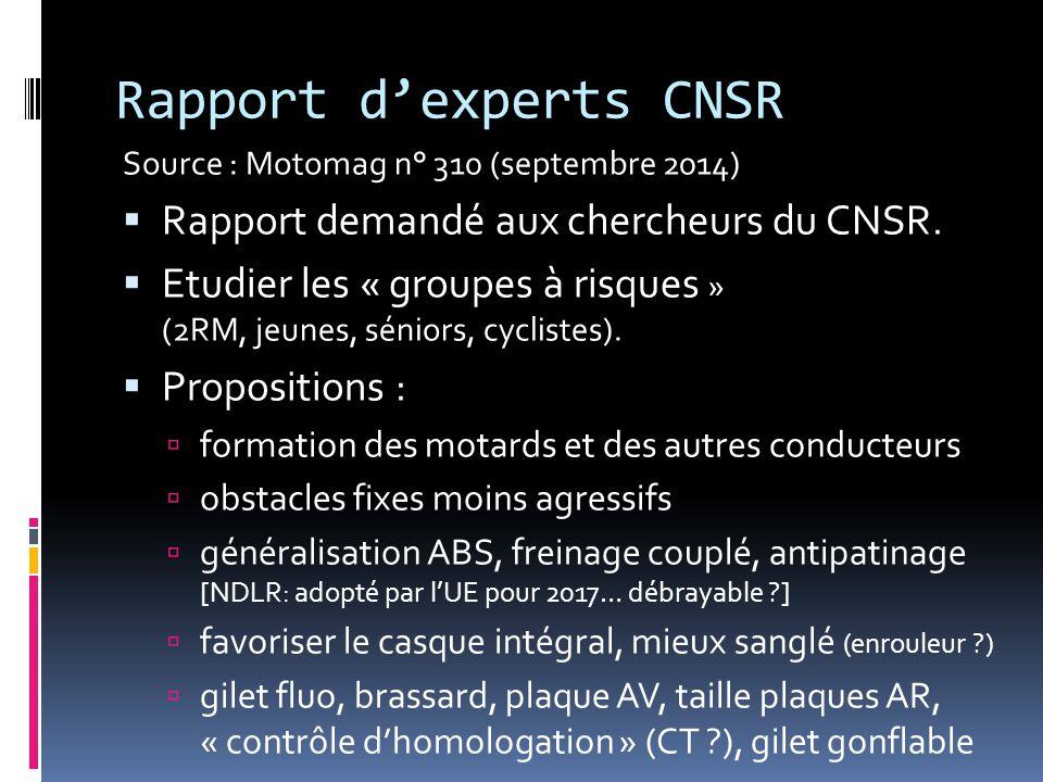 Rapport d'experts CNSR Source : Motomag n° 310 (septembre 2014)  Rapport demandé aux chercheurs du CNSR.