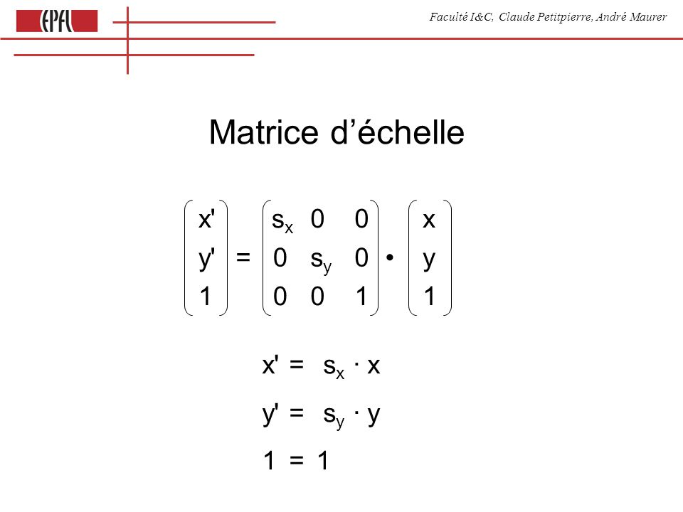 Faculté I&C, Claude Petitpierre, André Maurer Matrice d'échelle x sxsx 00x y =0sysy 0y 10011 x = s x · x y = s y · y 1= 1