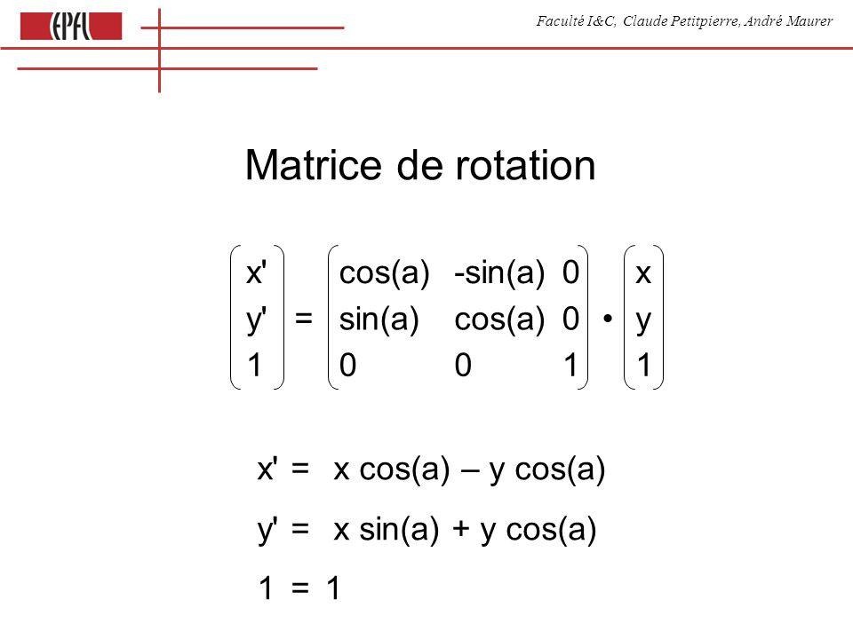 Faculté I&C, Claude Petitpierre, André Maurer x cos(a)-sin(a)0x y =sin(a)cos(a)0y 10011 Matrice de rotation x = x cos(a) – y cos(a) y = x sin(a) + y cos(a) 1= 1