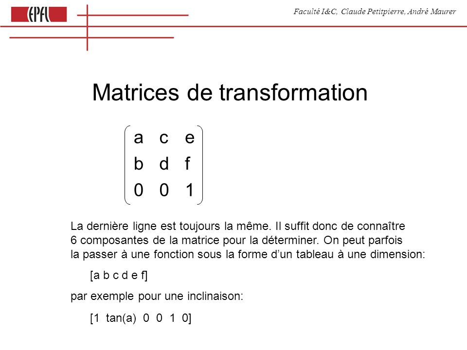 Faculté I&C, Claude Petitpierre, André Maurer Matrices de transformation ace bdf 001 La dernière ligne est toujours la même. Il suffit donc de connaît