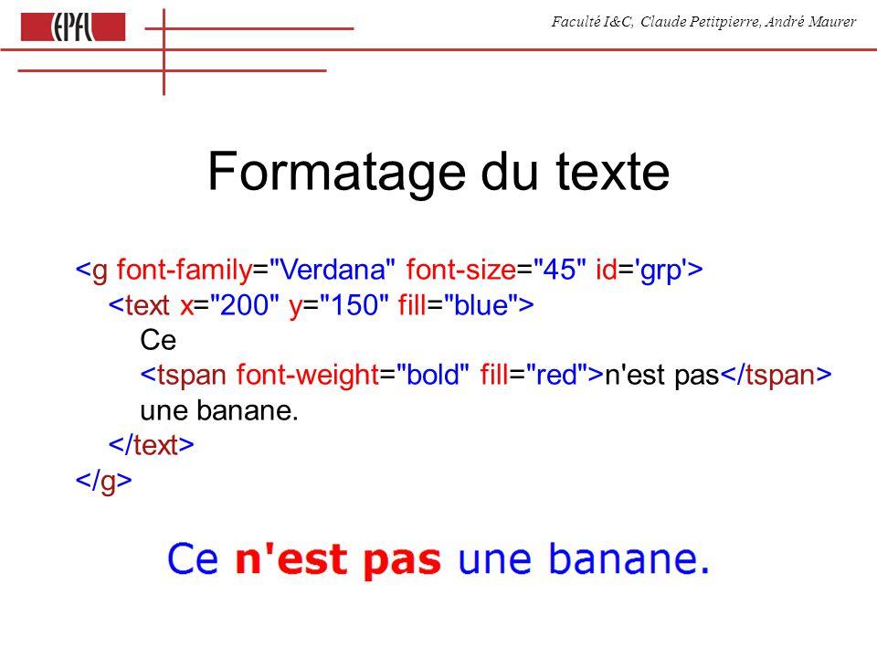 Faculté I&C, Claude Petitpierre, André Maurer Formatage du texte Ce n est pas une banane.