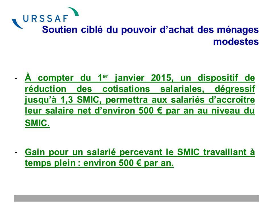 Soutien ciblé du pouvoir d'achat des ménages modestes -À compter du 1 er janvier 2015, un dispositif de réduction des cotisations salariales, dégressif jusqu'à 1,3 SMIC, permettra aux salariés d'accroître leur salaire net d'environ 500 € par an au niveau du SMIC.
