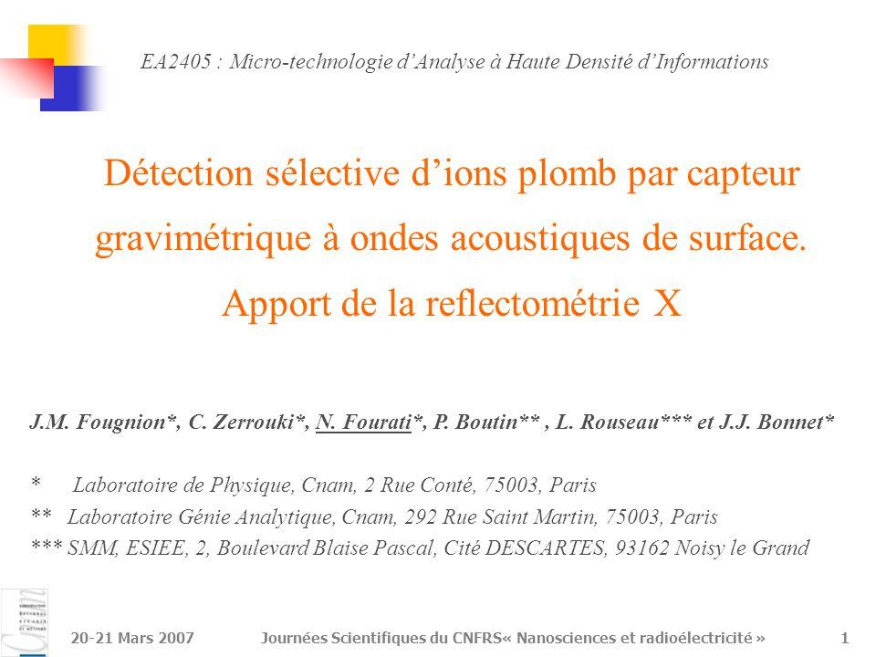 20-21 Mars 2007Journées Scientifiques du CNFRS« Nanosciences et radioélectricité »1 Détection sélective d'ions plomb par capteur gravimétrique à ondes