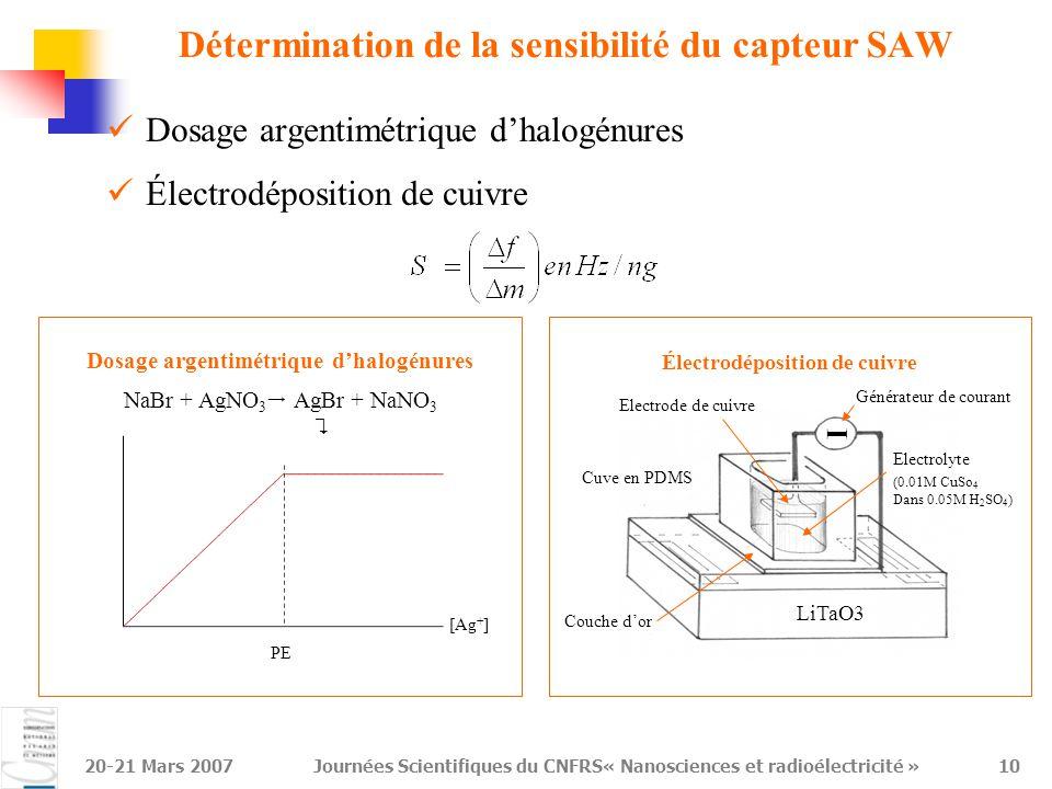20-21 Mars 2007Journées Scientifiques du CNFRS« Nanosciences et radioélectricité »11 [Ag + ]  Expérience de dosage argentimétrique  qualification de la sensibilité Dissolution du précipité : Ajout de Na 2 S 2 O 3 1 er ajout de AgNO 3 à une solution de NaBr PE NaBr + AgNO 3  AgBr + NaNO 3  [Ag + ]   AgBr   f 
