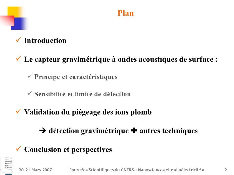 20-21 Mars 2007Journées Scientifiques du CNFRS« Nanosciences et radioélectricité »2 Plan Introduction Le capteur gravimétrique à ondes acoustiques de