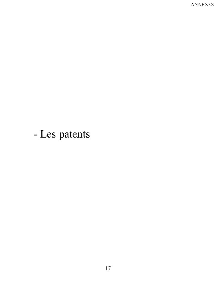 17 - Les patents ANNEXES