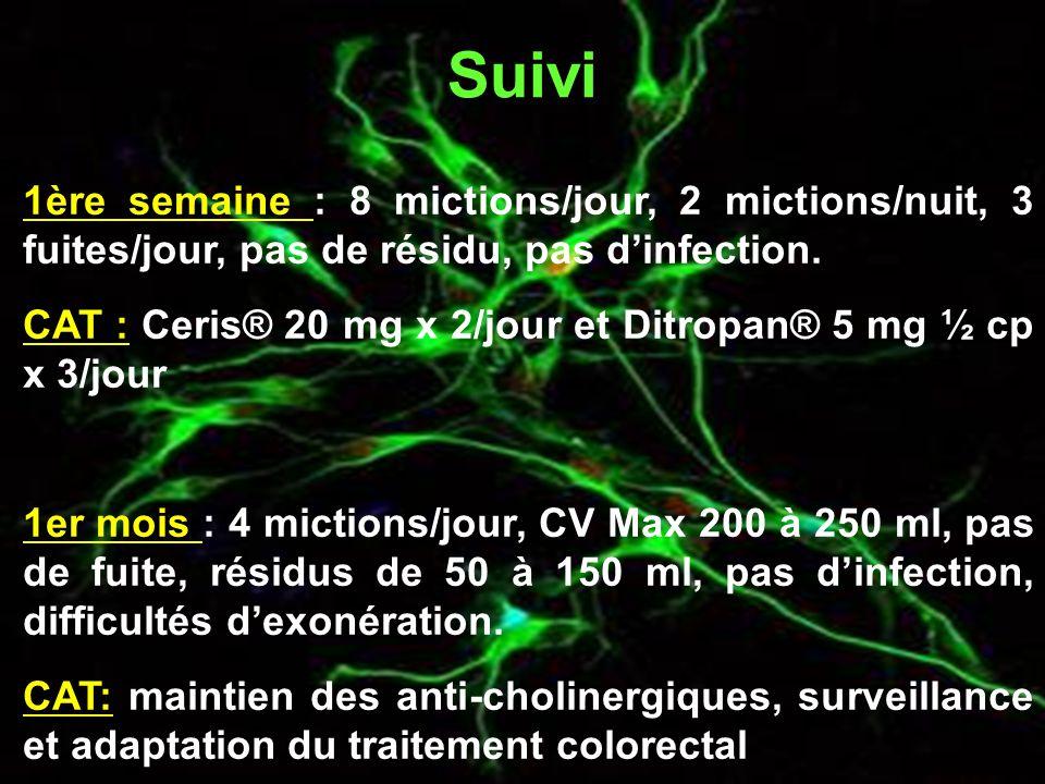 Suivi 1ère semaine : 8 mictions/jour, 2 mictions/nuit, 3 fuites/jour, pas de résidu, pas d'infection.