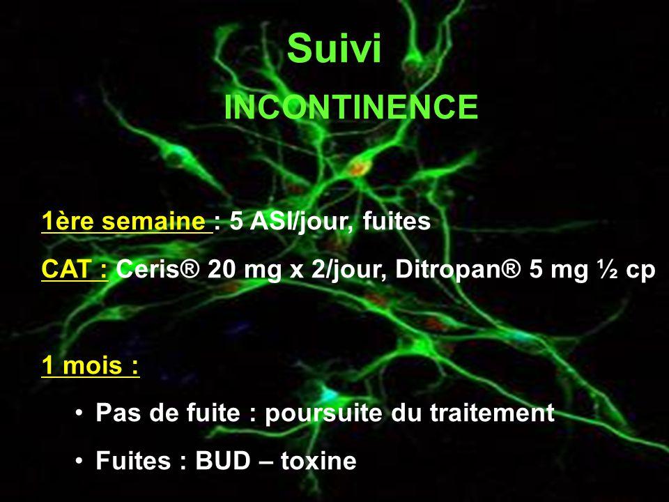 Suivi INCONTINENCE 1ère semaine : 5 ASI/jour, fuites CAT : Ceris® 20 mg x 2/jour, Ditropan® 5 mg ½ cp 1 mois : Pas de fuite : poursuite du traitement Fuites : BUD – toxine