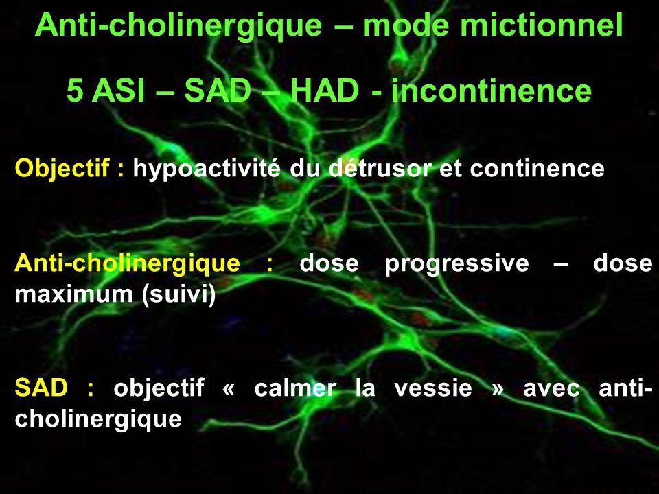 Objectif : hypoactivité du détrusor et continence Anti-cholinergique : dose progressive – dose maximum (suivi) SAD : objectif « calmer la vessie » avec anti- cholinergique Anti-cholinergique – mode mictionnel 5 ASI – SAD – HAD - incontinence