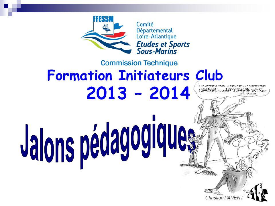 Stage Initial Initiateur. 2013 – page 1 Formation Initiateurs Club 2013 – 2014 Christian PARENT 1 SE METTRE A L'EAU 4 PRENDRE UNE INSPIRATION 2 DESCEN