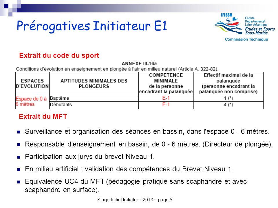 Stage Initial Initiateur. 2013 – page 5 Prérogatives Initiateur E1 Surveillance et organisation des séances en bassin, dans l'espace 0 - 6 mètres. Res