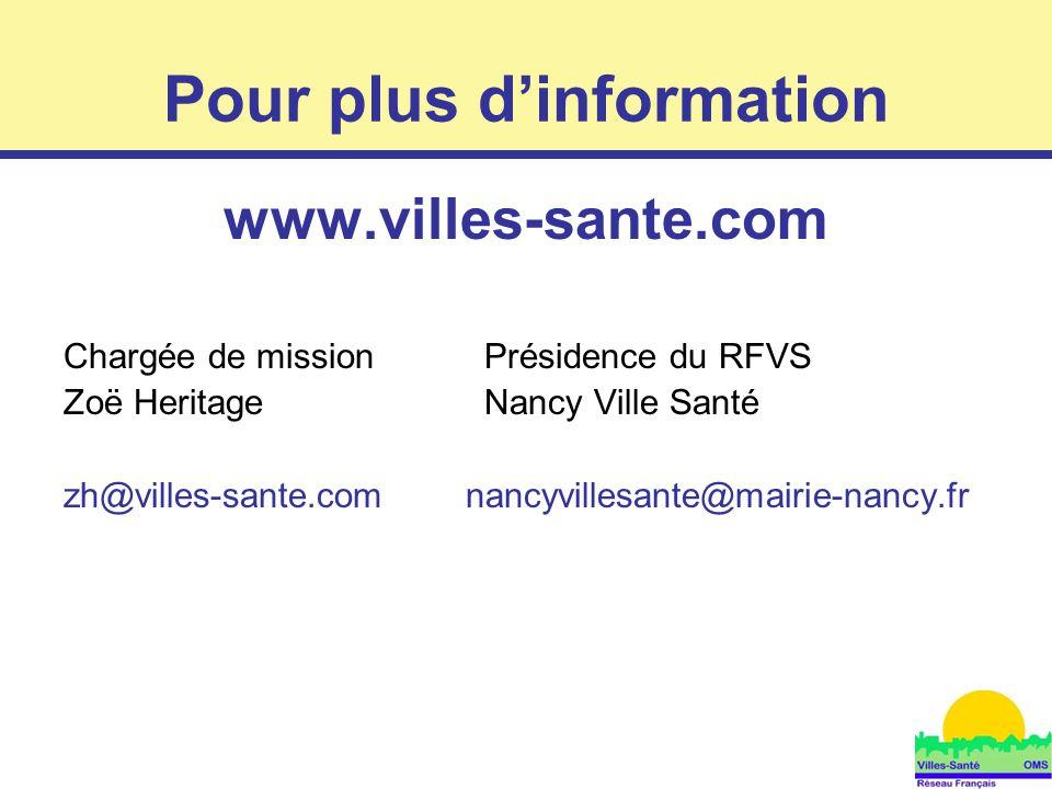 10 Pour plus d'information www.villes-sante.com Chargée de mission Présidence du RFVS Zoë HeritageNancy Ville Santé zh@villes-sante.com nancyvillesant