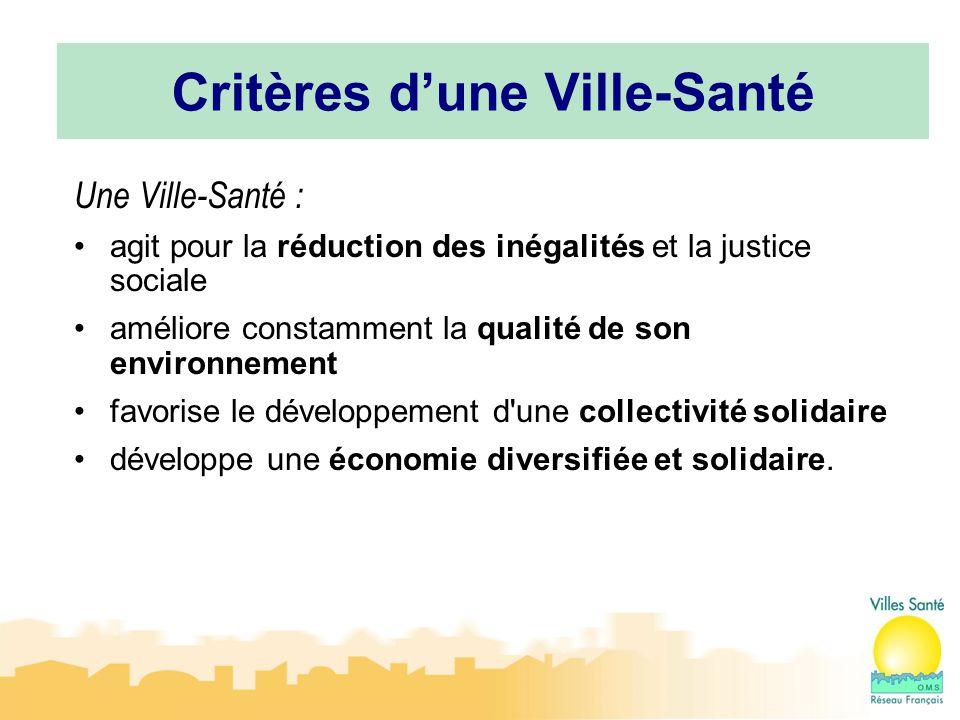 12 Critères d'une Ville-Santé Une Ville-Santé : agit pour la réduction des inégalités et la justice sociale améliore constamment la qualité de son env