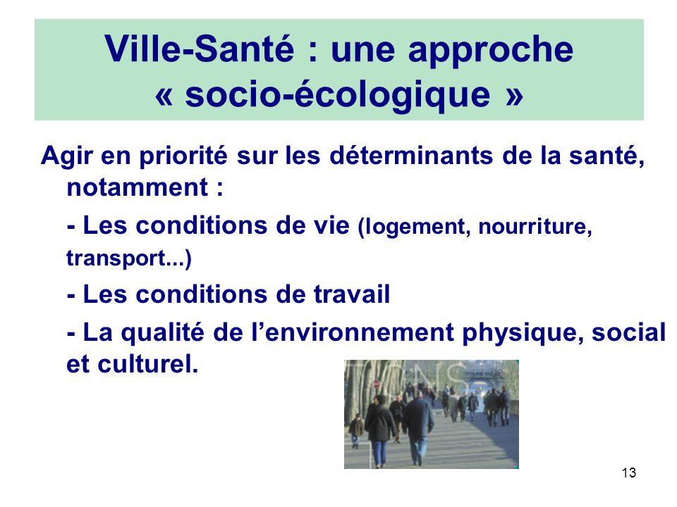 13 Ville-Santé : une approche « socio-écologique » Agir en priorité sur les déterminants de la santé, notamment : - Les conditions de vie (logement, n