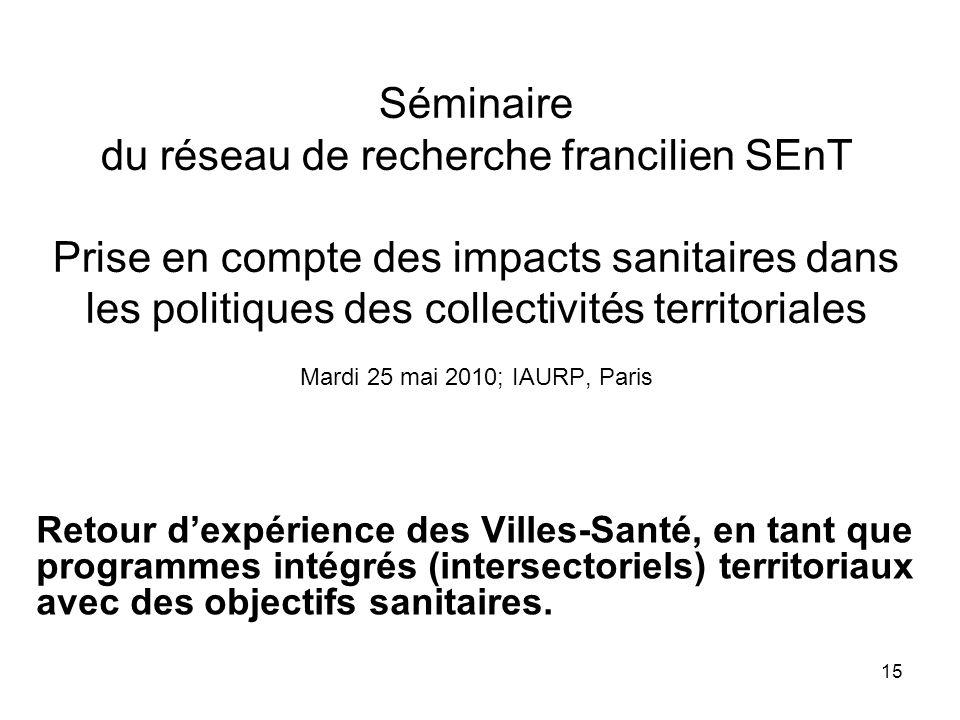 15 Séminaire du réseau de recherche francilien SEnT Prise en compte des impacts sanitaires dans les politiques des collectivités territoriales Mardi 2