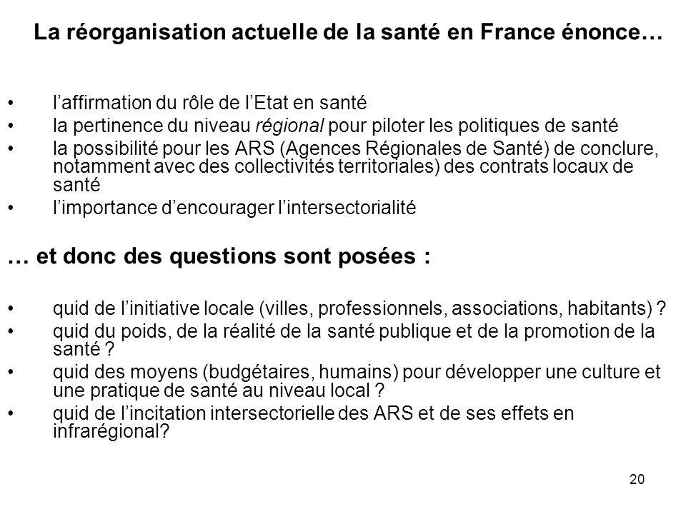 20 La réorganisation actuelle de la santé en France énonce… l'affirmation du rôle de l'Etat en santé la pertinence du niveau régional pour piloter les