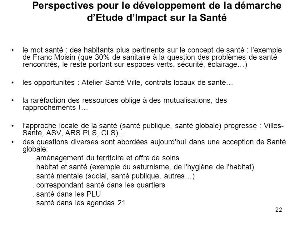 22 Perspectives pour le développement de la démarche d'Etude d'Impact sur la Santé le mot santé : des habitants plus pertinents sur le concept de sant