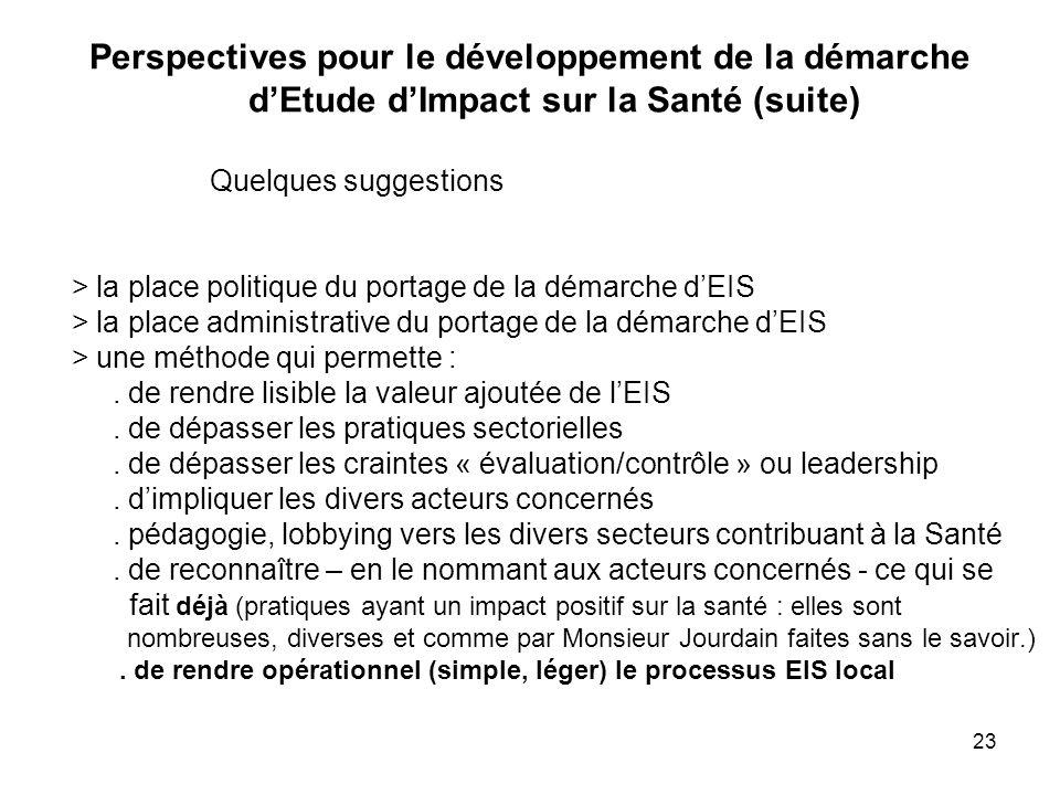 23 Perspectives pour le développement de la démarche d'Etude d'Impact sur la Santé (suite) Quelques suggestions > la place politique du portage de la