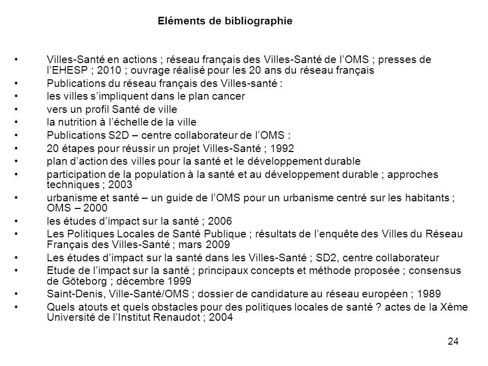 24 Eléments de bibliographie Villes-Santé en actions ; réseau français des Villes-Santé de l'OMS ; presses de l'EHESP ; 2010 ; ouvrage réalisé pour le