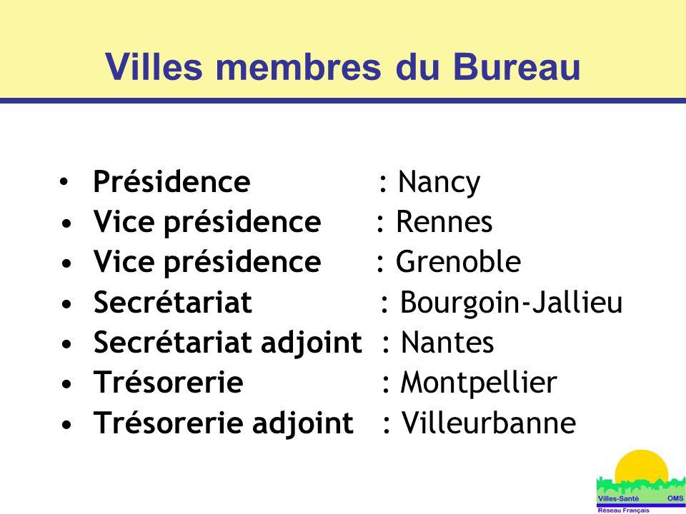 6 Présidence : Nancy Vice présidence : Rennes Vice présidence : Grenoble Secrétariat : Bourgoin-Jallieu Secrétariat adjoint : Nantes Trésorerie : Mont