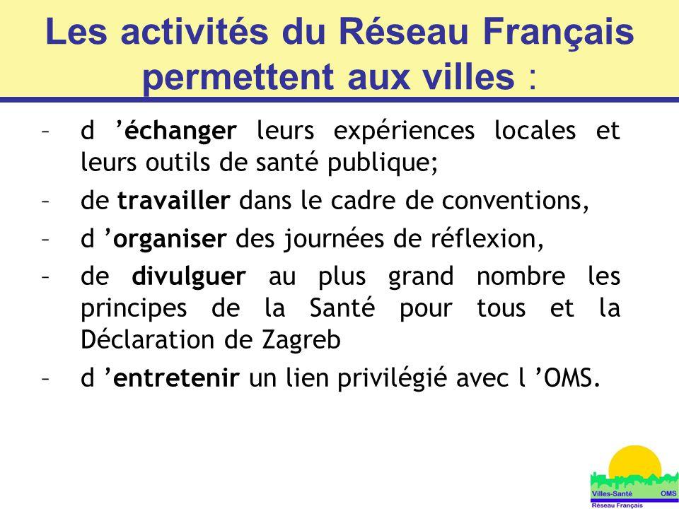 7 Les activités du Réseau Français permettent aux villes : –d 'échanger leurs expériences locales et leurs outils de santé publique; –de travailler da