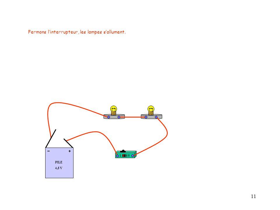 11 Fermons l'interrupteur, les lampes s'allument. 10 PILE 4,5 V + -