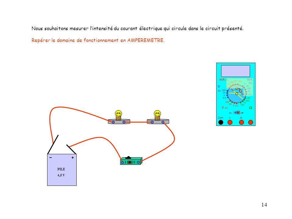 14 10 A Nous souhaitons mesurer l'intensité du courant électrique qui circule dans le circuit présenté. Repérer le domaine de fonctionnement en AMPERE
