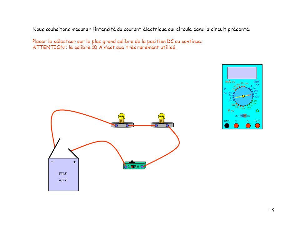 15 10 A Com mA DC A OffOn 10A 2A 200 20 V  2 V AC mA AC V DC 2M 20k 2k 200 0.2 2 200 20 2 0.2 2 20 200 Nous souhaitons mesurer l'intensité du courant électrique qui circule dans le circuit présenté.