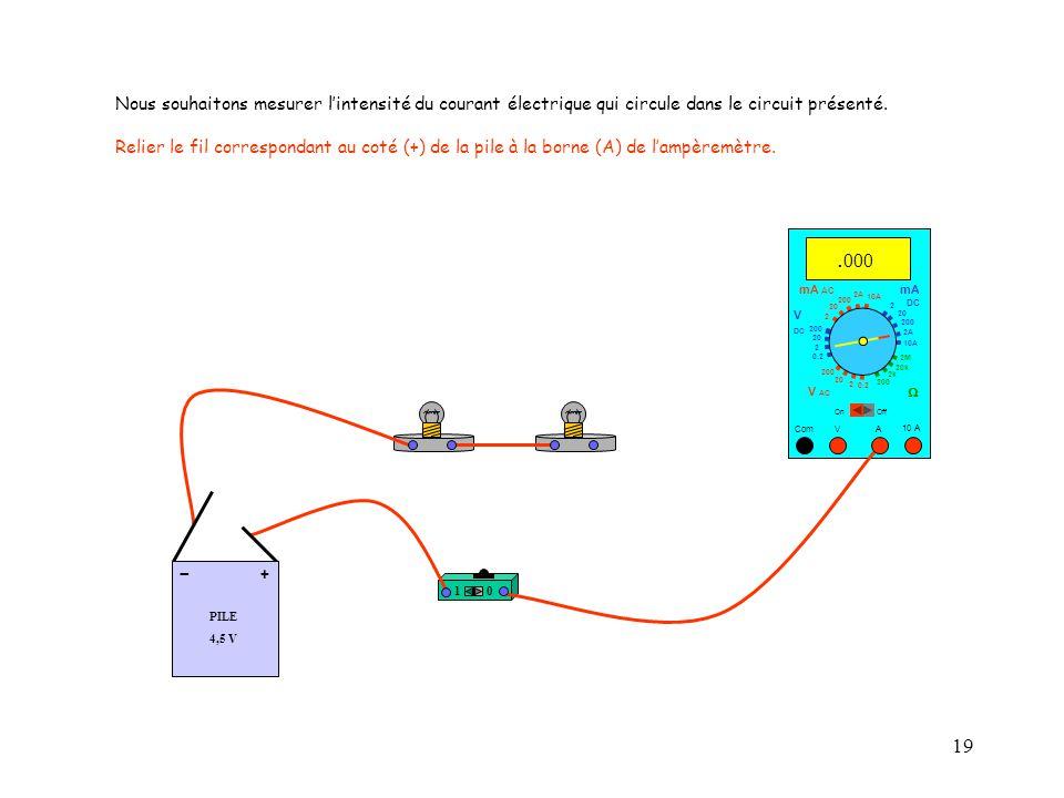 19 10 A Com mA DC A OffOn 10A 2A 200 20 V  2 V AC mA AC V DC 2M 20k 2k 200 0.2 2 200 20 2 0.2 2 20 200 Nous souhaitons mesurer l'intensité du courant électrique qui circule dans le circuit présenté.
