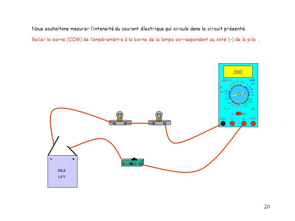 20 10 A Com mA DC A OffOn 10A 2A 200 20 V  2 V AC mA AC V DC 2M 20k 2k 200 0.2 2 200 20 2 0.2 2 20 200 Nous souhaitons mesurer l'intensité du courant électrique qui circule dans le circuit présenté.